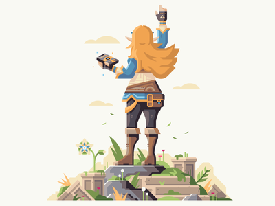 Protector Of The Wild hair girl zelda nintendo princess protector nature ruins flower overgrown stone