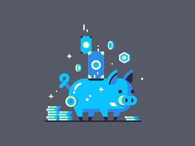It's A Blue Pig saving money dollar coin pig bank piggy