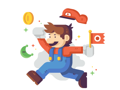 Jumpman (Plumber) flag jump plumber coin moon print fan art nintendo odyssey mario super