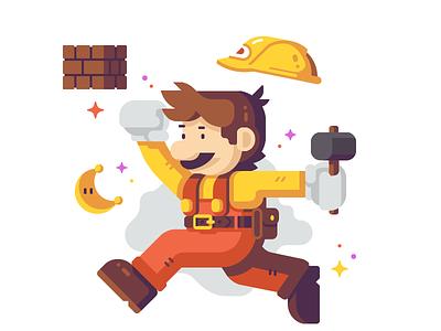 Jumpman (Builder) construction hammer brick moon belt tool builder nintendo odyssey mario super