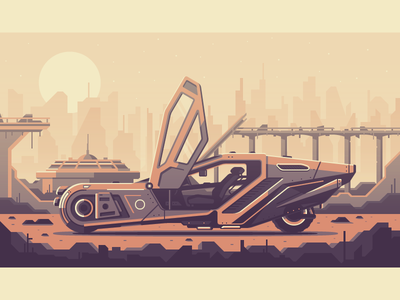 Blade Runner 2049 city bridge rock 2049 los angeles vegas dystopia futuristic future car blade runner