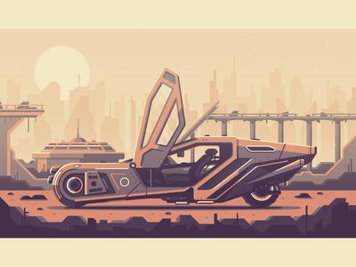 Blade Runner 2049 city bridge rock 2049 los angeles vegas dystopia futuristic future car blade runner