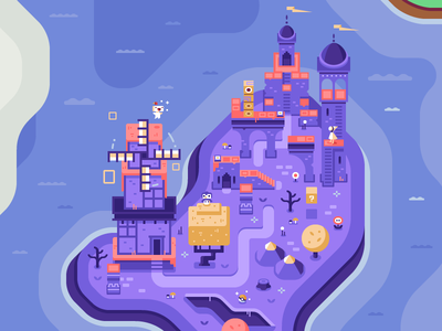 Monument Valley + Fez - Discord Overworld Mural video games discord pixel art mario pokemon nintendo monument valley fez indie game flag windmill tower
