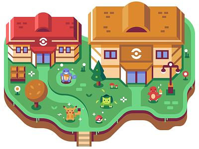 Pokémon - Discord Overworld Snippet mural video game nintendo pokecenter squirtle bulbasaur charmander pikachu pokeball pokemon