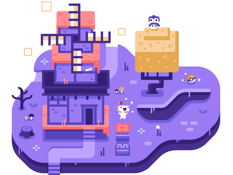 Fez - Discord Overworld Snippet mushroom purple pokemon owl tree windmill indie game video game fez