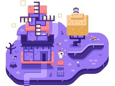 Fez - Discord Overworld Snippet mushroom purple pokemon owl tree windmill indie game video game fez
