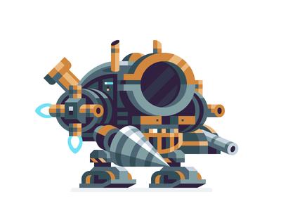 Mech Armor drill steampunk future space suit robot mech starbound