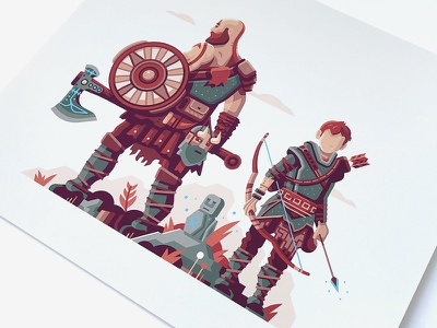 Print Detail: Warriors of Midgard rock plant bow character video game axe print god of war