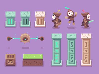 Brave Explorers - Blocks + Characters character saw pillar video game pixel art game sprite explorer brave