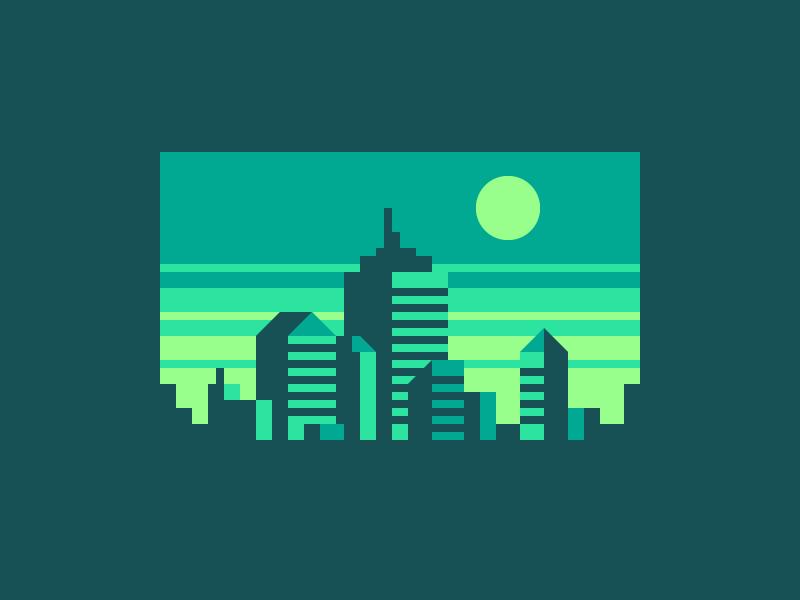 Green City sunrise sunset pixel art abstract skyline city