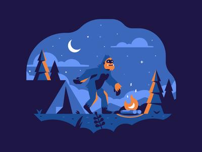 Creepy Sasquatch tent camping campfire dark gorilla ape bigfoot sasquatch