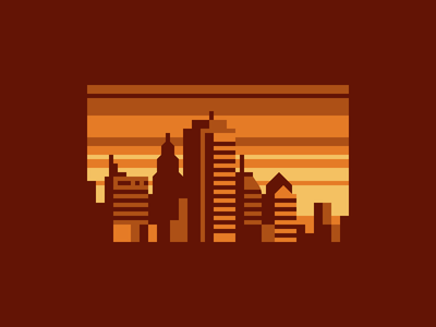 Amber City lines gold amber sunset sunrise skyline pixel art city abstract