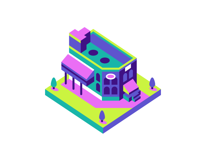 Genesee Brew House brewhouse beer river genesee tree city tower building isometric rochester