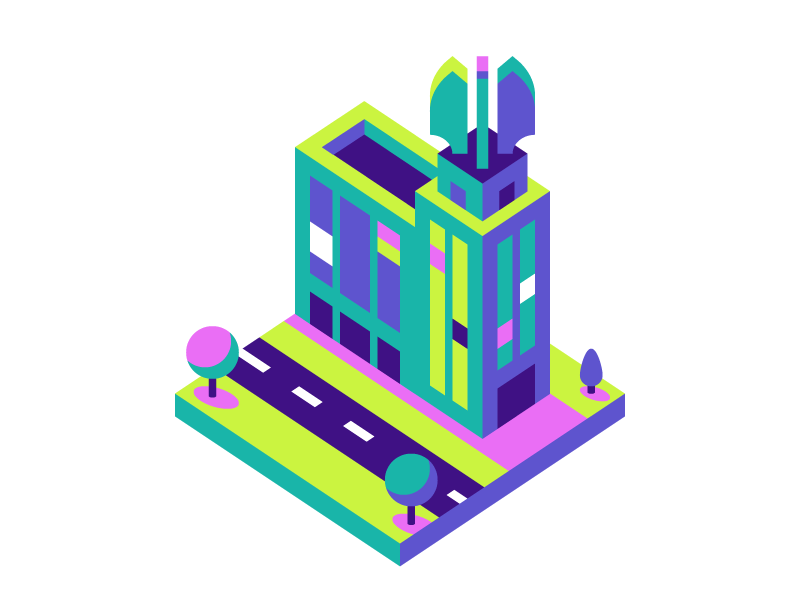 Times Square Building progress wings tree city tower building isometric rochester
