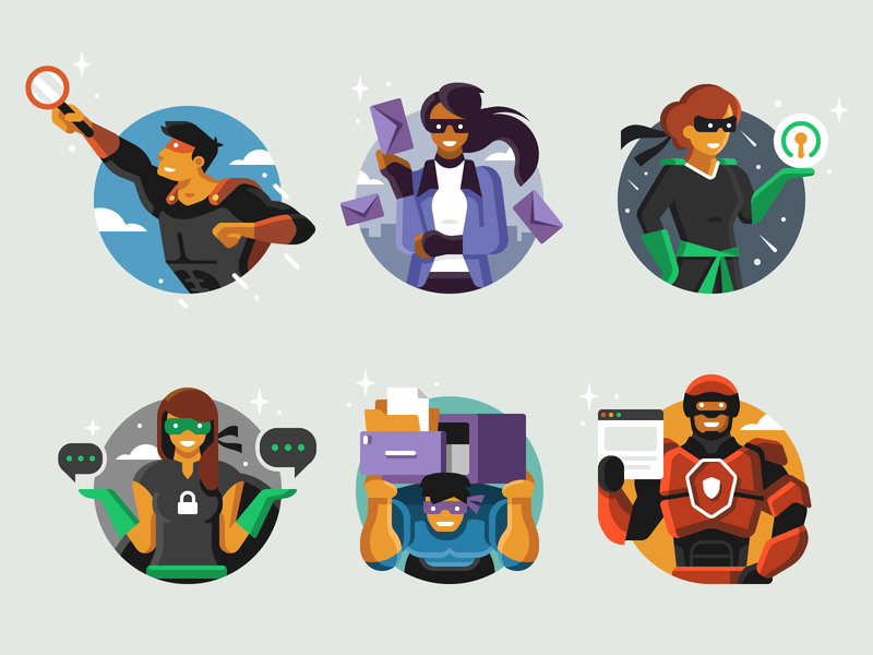 Privacy Super Heroes character design character chat email superhero hero security privacy