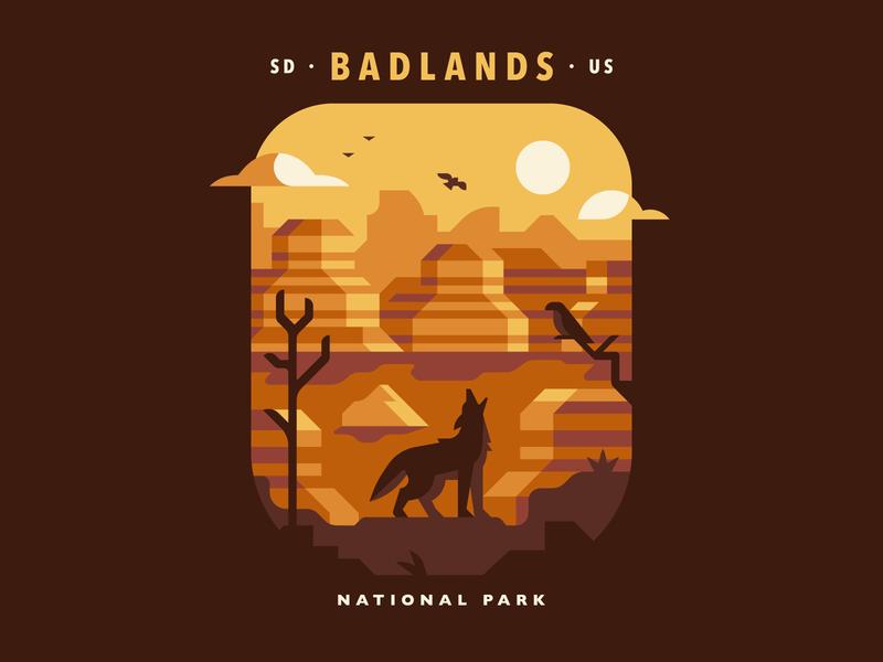 Badlands National Park wolf badlands coyote desert mountain tree bird landscape atmospheric national park