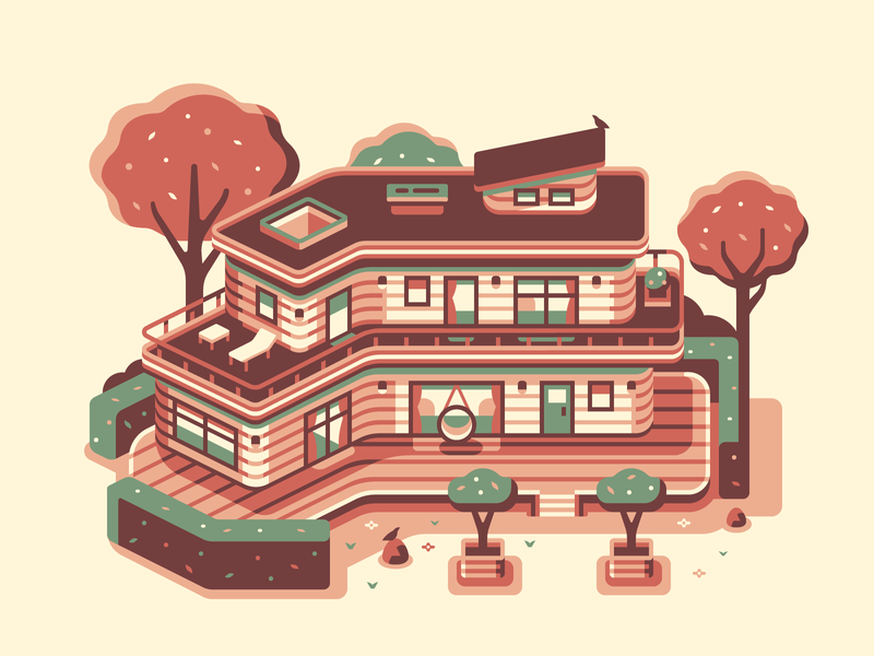 Woodland House topdown landscape home rock bird tree swing forest midcentury modern house