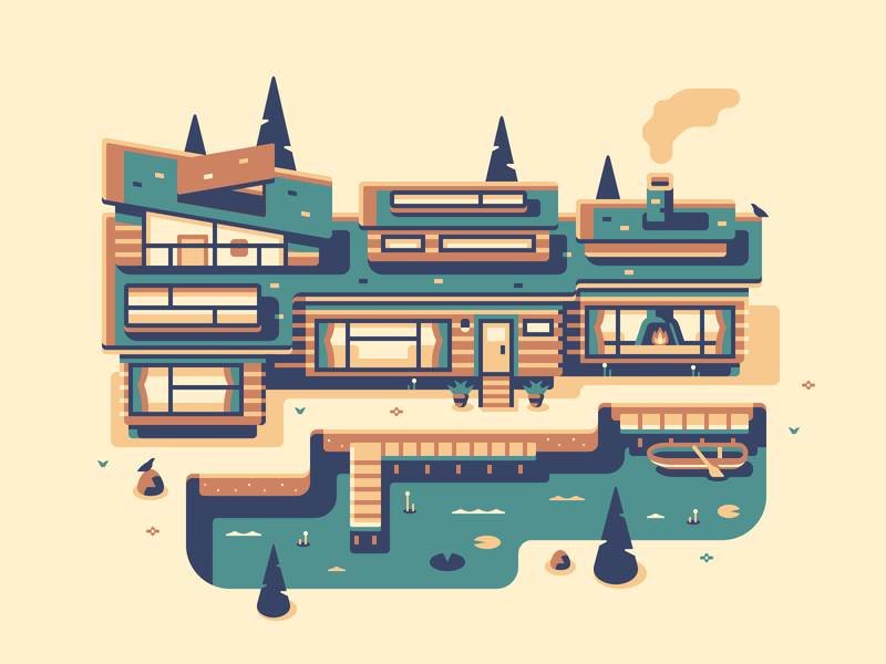 Lake House game topdown midcentury modern home house boat tree lake forest bird architecture