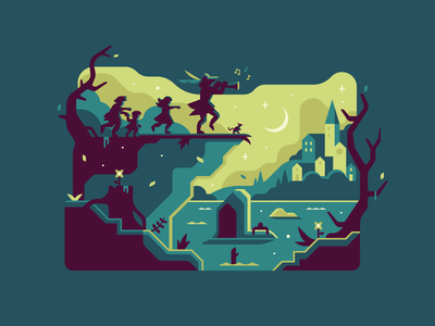 Pied Piper atmospheric silhouette town fairytale horror dark children rat pipe pied piper