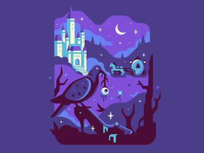 Cinderella moon tree horse carriage atmosphere dark fairytale evil castle dove