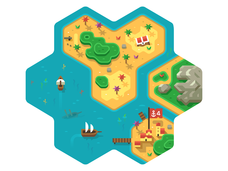 Pirate Board Game town sail boat ship caribbean ocean flag palm game board topdown treasure loot pirate