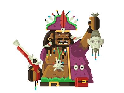 Voodoo Pirate gun bone skull feather curse witchcraft pirate voodoo