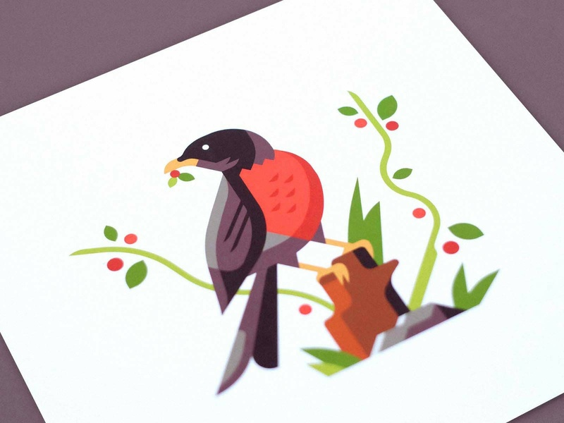 "Robin (8""x8"") bird nature print leaf berry plant rock tree trunk stump feather"