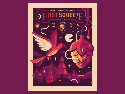 Tröegs: First Squeeze magic vine hop tree landscape forest craft beer poster beer humming bird bird