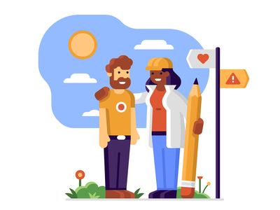 DuckDuckGo: Ethical Design Decisions happy sun decision help road paths sign pencil people character plants designer ethics