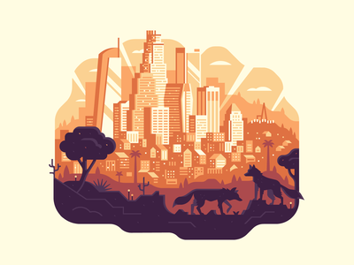 Gallery 1988: Los Angeles Print silhouette sunset city hollywood tree palm coyote nature skyline la los angeles