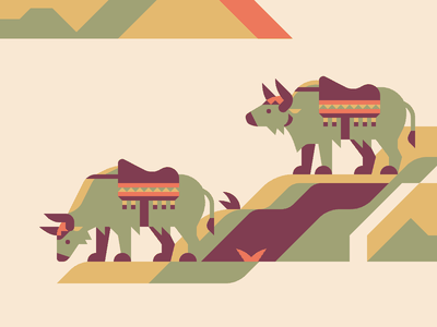 Yaks Crop nature animal saddle geometric nepal mountain yak