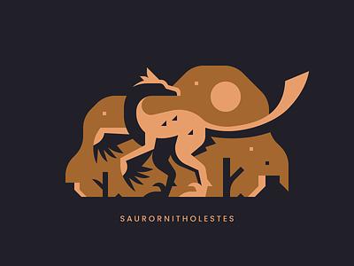 Saurornitholestes icon minimal sun feather dinosaur lizard thief bird raptor