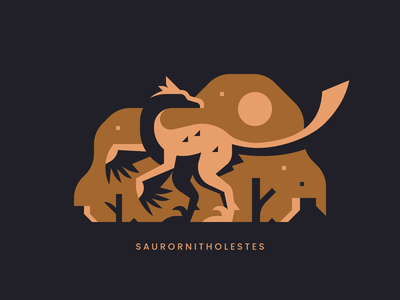 Saurornitholestes icon minimal sun feather dinosaur lizard thief bird raptor
