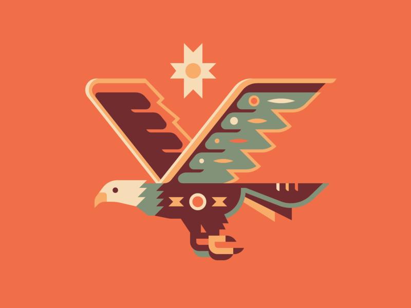 Eagle print wildlife wing geometry pattern sun bird eagle