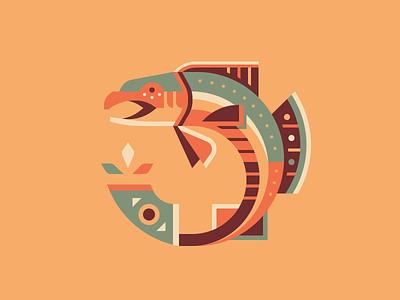 Salmon totem pattern animal geometic native american nature fish salmon