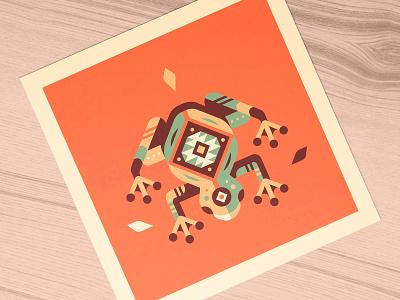 Frog Print giclee print pattern native american geometric geometry frog nature