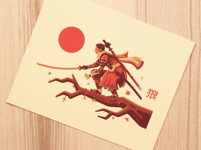 Shinobi Print kanji wind maple leaf katana samurai ninja sengoku japan nature art print sekiro shinobi