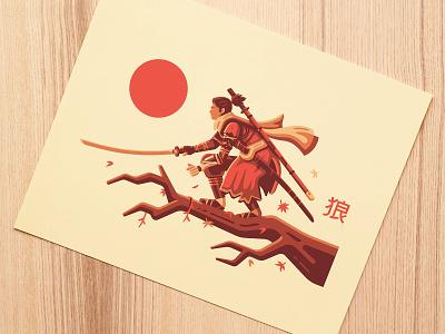 Shinobi Print kanji wind maple leaf katana samurai ninja sengoku japan nature art print sekiro shinobi