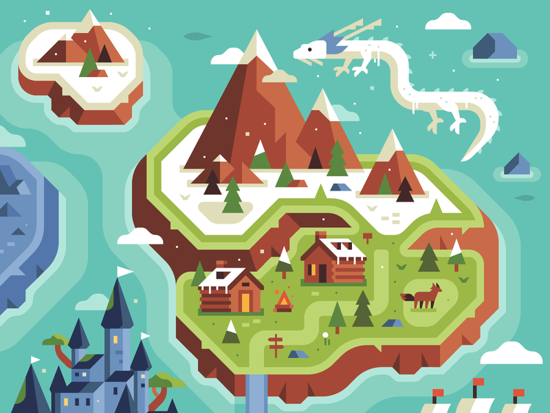 Two Dots - Level Uplands - Ice Zone rpg wolf indie game overworld cabin pine snow mountain dragon ice