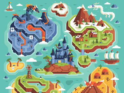 Two Dots - Level Uplands - Full Map windmill turtle pirate ship castle mountain volcano dragon two dots game map overworld rpg
