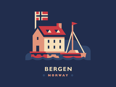 Bergen scandinavia norway harbor seaside flag sail boat ship dock ocean row house building