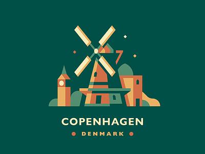 Copenhagen skyline badge scandinavian city windmill denmark copenhagen