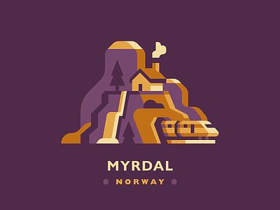 Myrdal river waterfall hike cave tunnel tree pine nature train rail house mountain scandinavia norway myrdal