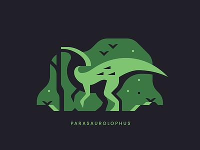 Parasaurolophus tree plant forest dinosaur minimal