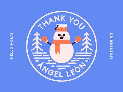 Snowman vector flat character hello invite logo winter snowman badge stamp illustration graphic