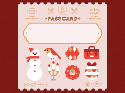 Google Campus Seoul - Pass Card card christmas google-campus campus-seoul google flat illustration ticket
