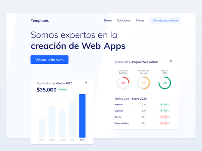 Templune analytics white dashboard seo web app app website hero landing ux design ui design ui mexico