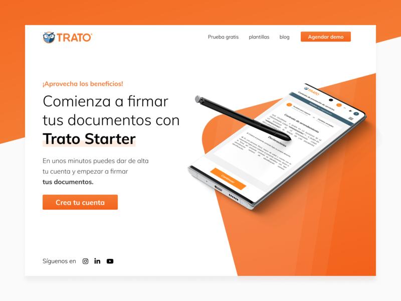 Trato Starter website startup electronic signature ux design ui design onepage orange mexico homepage landing signature contract blockchain