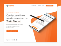 Trato Starter website startup electronic signature ux design ui design onepage orange mexico homepage landing signature contract blockchain