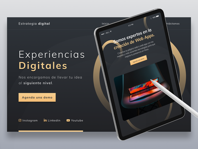 Templune | Agencia Digital website ux design ux ui design ui template mexico landing gold figma design figma dark ui dark theme dark app dark adobe adobe xd